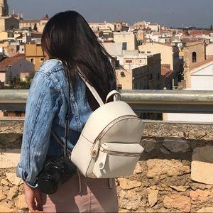 Zara white faux quilted leather backpack